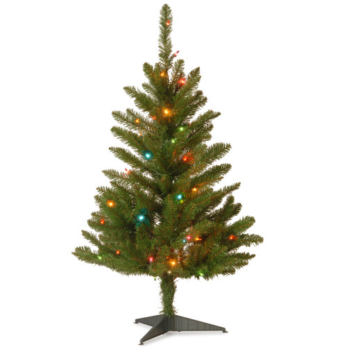 3' Pre-lit Kingswood Fir Slim Artificial Christmas Tree –Multicolor Lights - IMAGE 1