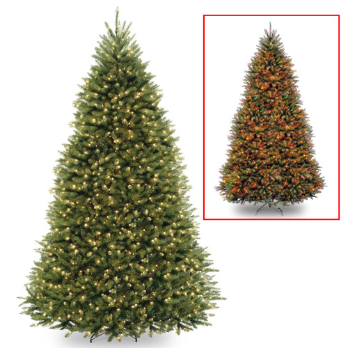 9' Pre-Lit Full Dunhill Fir Artificial Christmas Tree – Multi-Color/Warm White LED Lights - IMAGE 1