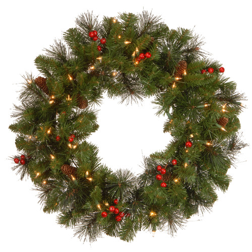 """24"""" Pre-Lit Crestwood Spruce Artificial Christmas Wreath - Clear Lights - IMAGE 1"""