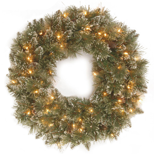 Pre-Lit Glittery Bristle Pine Artificial Christmas Wreath - 30-Inch, Clear Lights - IMAGE 1