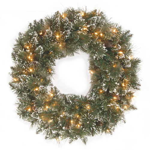 Pre-Lit Glittery Bristle Pine Artificial Christmas Wreath - 24-Inch, Clear Lights - IMAGE 1