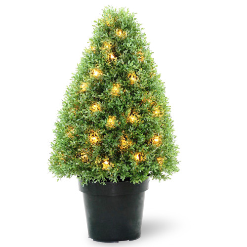 """2.5' x 15"""" Green and Black Pre-lit Potted Artificial Boxwood Tree - Clear Lights - IMAGE 1"""