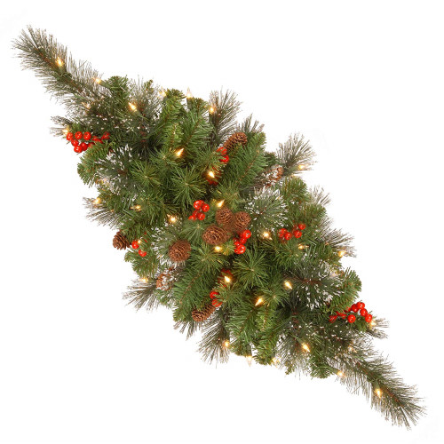 """30"""" Green Spruce Centerpiece with Silver Bristle - Warm White LED Lights Battery Operated - IMAGE 1"""