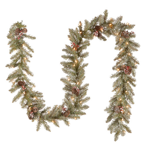 "9' x 10"" Pre-Lit Dunhill Fir Artificial Christmas Garland with Red Berries – Clear Lights - IMAGE 1"