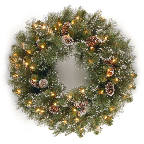 Pre-Lit Glittery Pine Artificial Christmas Wreath - 24-Inch, Clear Lights - IMAGE 1