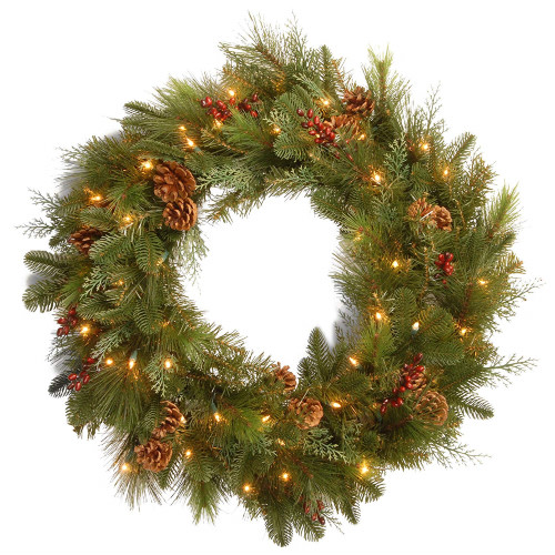 Pre-Lit Decorative Noble Mixed Artificial Christmas Wreath - 30-Inch, LED Lights Battery Operated - IMAGE 1