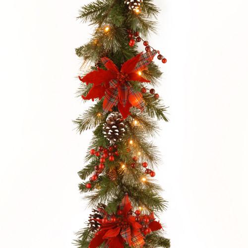 "9' x 12"" Pre-Lit B/O LED Tartan Plaid Artificial Christmas Garland – Warm White Lights - IMAGE 1"