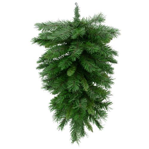 "30"" Mixed Pine Artificial Christmas Teardrop Swag - Unlit - IMAGE 1"