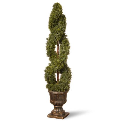 4.5' Double Spiral Cedar Artificial Topiary Tree - Unlit - IMAGE 1