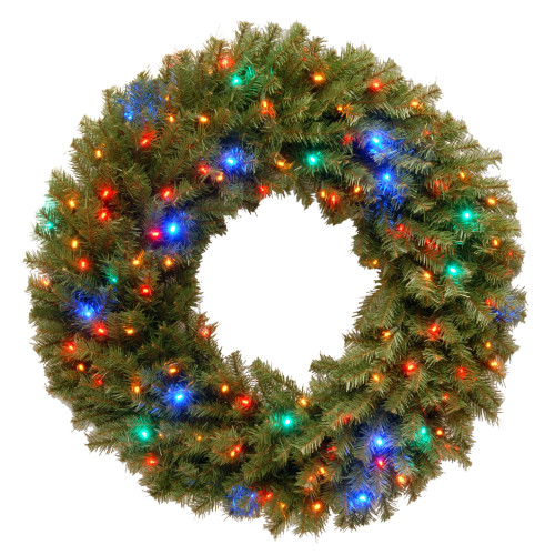 "36"" Pre-Lit Norwood Fir Artificial Christmas Wreath – Multi-Color LED Lights - IMAGE 1"