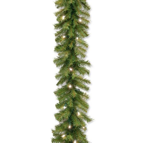 "9' x 10"" Pre-Lit Norwood Fir Artificial Christmas Garland – Soft White LED Lights - IMAGE 1"