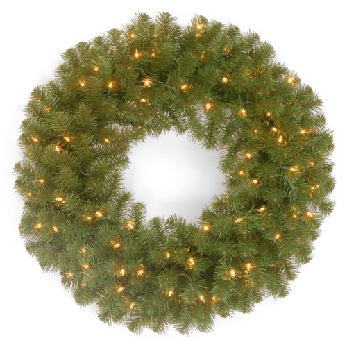 Pre-Lit North Valley Spruce Artificial Christmas Wreath - 24-Inch, Clear Lights - IMAGE 1