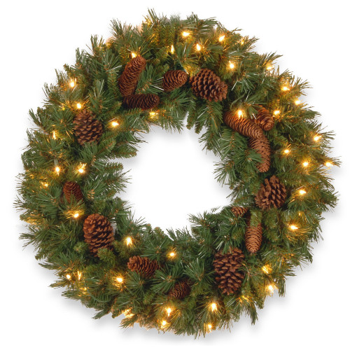 Pre-Lit Pine Cone Artificial Christmas Wreath - 24-Inch, Clear Lights - IMAGE 1