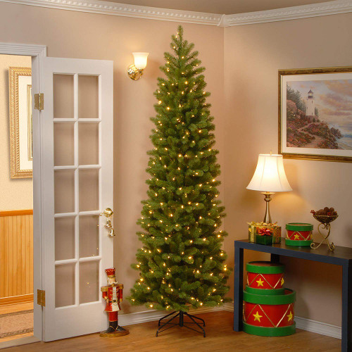 7.5' Pre-Lit Downswept Douglas Slim Fir Artificial Christmas Tree - Clear Lights - IMAGE 1