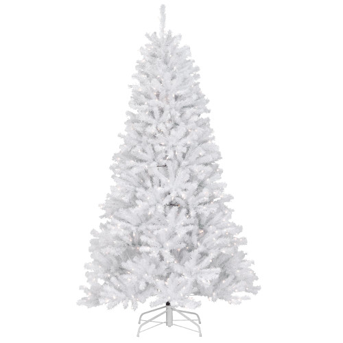 7' Pre-Lit North Valley White Spruce Artificial Christmas Tree - Clear Lights - IMAGE 1