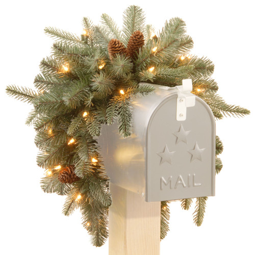 """36"""" Pre-Lit Arctic Spruce Mailbox Swag - Clear LED Lights - IMAGE 1"""