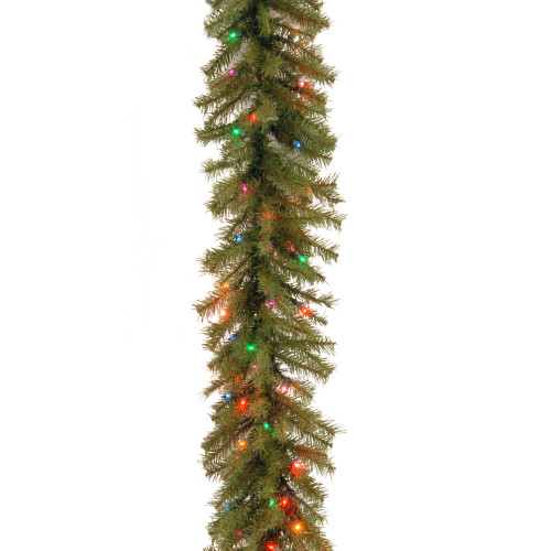 9' Pre-Lit Artificial Christmas Garland - Multicolor Clear Lights - IMAGE 1