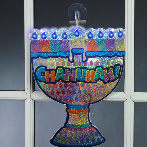 """10"""" Blue and Violet LED Lighted Menorah Window Silhouette Decoration - IMAGE 1"""