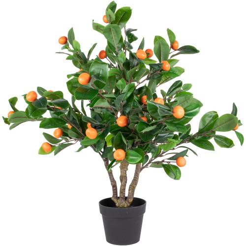 "31"" Green and Orange Artificial Citrus Mitis Tree In a Black Pot - IMAGE 1"