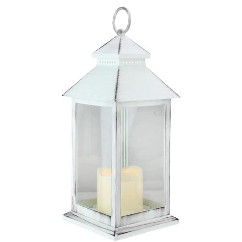 """12.5"""" Black Brushed White Candle Lantern with Flameless LED Candle - IMAGE 1"""