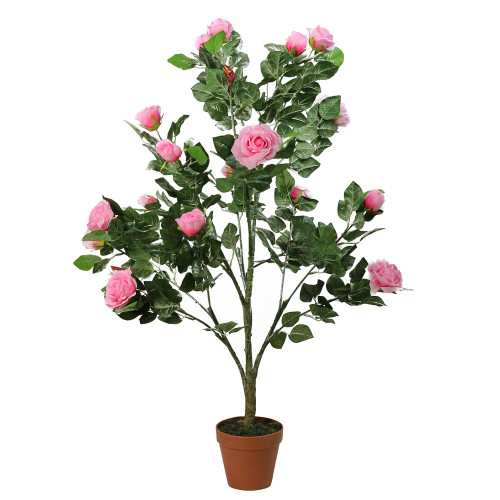 """47"""" Potted Green and Pink Artificial Rose Garden Tree - IMAGE 1"""