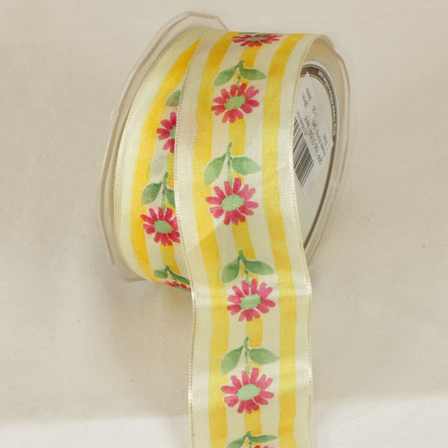 """Yellow Flower Striped Wired Craft Ribbon 1.5"""" x 54 Yards - IMAGE 1"""