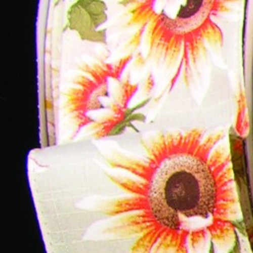 """Ivory and Yellow Sunflower Meadow Print Wired Craft Ribbon 4"""" x 20 Yards - IMAGE 1"""