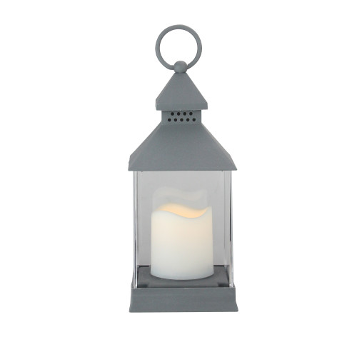 """9.5"""" Gray Candle Lantern with Flameless LED Candle Tabletop Decor - IMAGE 1"""