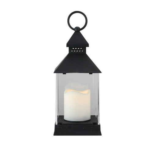 """9.5"""" Black Candle Lantern with Flameless LED Candle Tabletop Decor - IMAGE 1"""