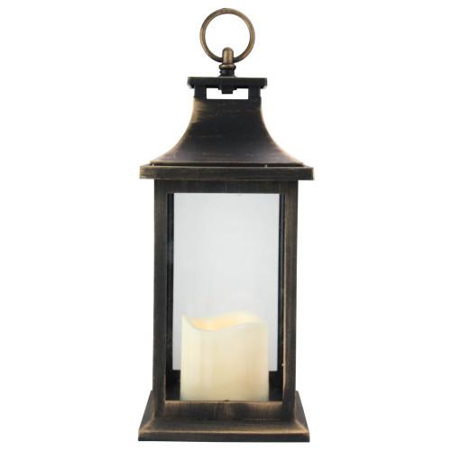 "12.5"" Black with Gold Brushing Candle Lantern with Flameless LED Candle - IMAGE 1"