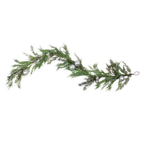 5' Green and Silver Iced Cedar Christmas Garland with Ornaments Bells - Unlit - IMAGE 1