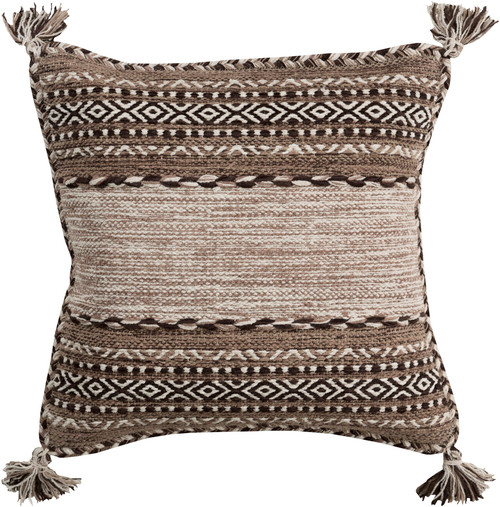 """22"""" Brown and White Square Throw Pillow with Knotted Corner Fringes - Down Filler - IMAGE 1"""