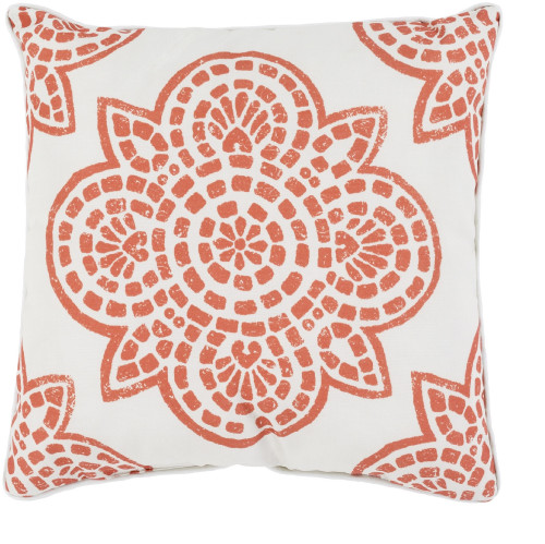"20"" Orange and White Contemporary Digitally Printed Square Throw Pillow - IMAGE 1"