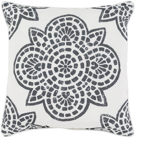 """20"""" White and Black Contemporary Digitally Printed Square Outdoor Throw Pillow - IMAGE 1"""