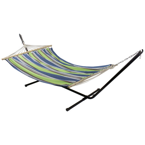 """76"""" Green and Blue Striped Double Seating Outdoor Hammock - IMAGE 1"""