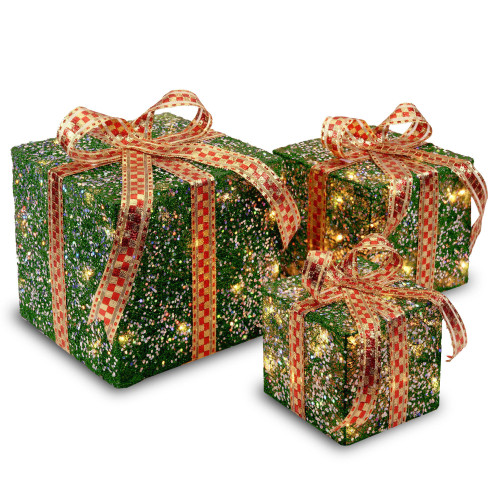 "Set of 3 Green Christmas Decorative Gift Boxes Table Toppers - Clear Lights 10"" - IMAGE 1"