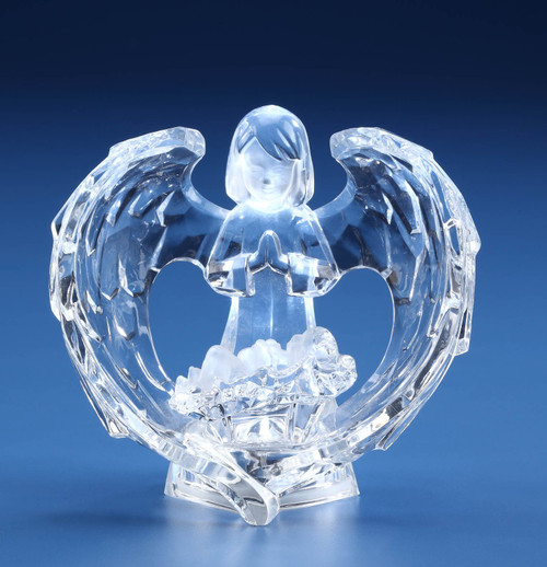 "Set of 2 Prelit Clear LED Transparent Guardian Angels Figurine 4"" - IMAGE 1"