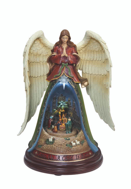 """Set of 2 """"Child Is Born"""" Angel with Nativity Musical Tabletop Decor with LED 10.5"""" - IMAGE 1"""