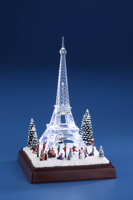"""Pack of 2 White and Clear Winter Eiffel Towers with LED Light 8"""" - IMAGE 1"""