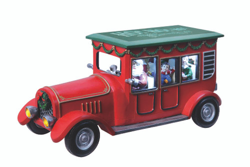 "5.5"" Red and Green Santa Station Wagon Car Christmas Table Decor - IMAGE 1"