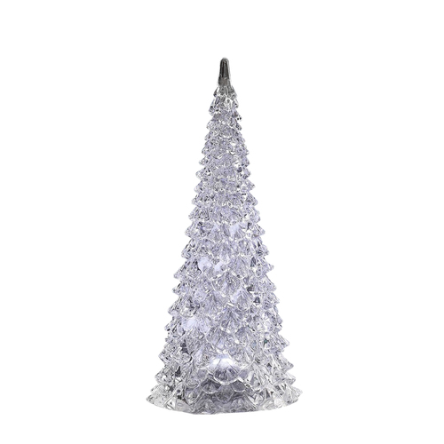 "Set of 2 Clear LED Lighted Christmas Decorative Pine Trees 12"" - IMAGE 1"