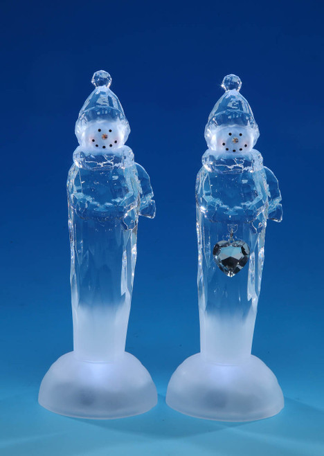 """Set of 4 Clear Snowman Tabletop Figurines with White LED Lights 8.75"""" - IMAGE 1"""