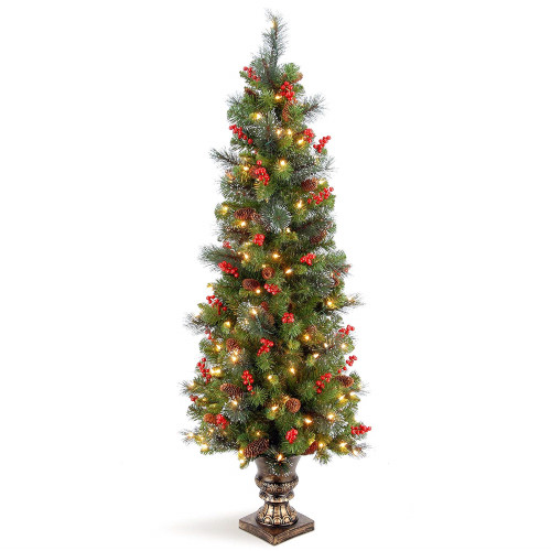 5' Pre-lit Potted Crestwood Spruce Medium Artificial Christmas Tree – Clear Lights - IMAGE 1