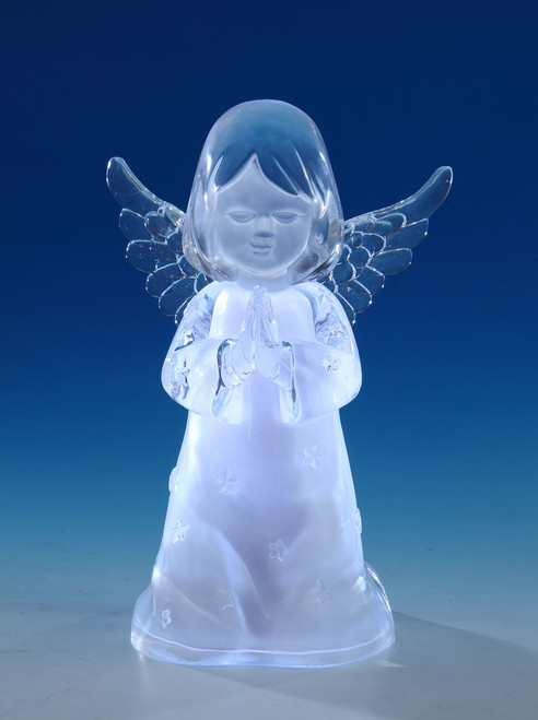 "Set of 2 Clear Decorative Cherub Girl LED Tabletop Decors 8"" - IMAGE 1"