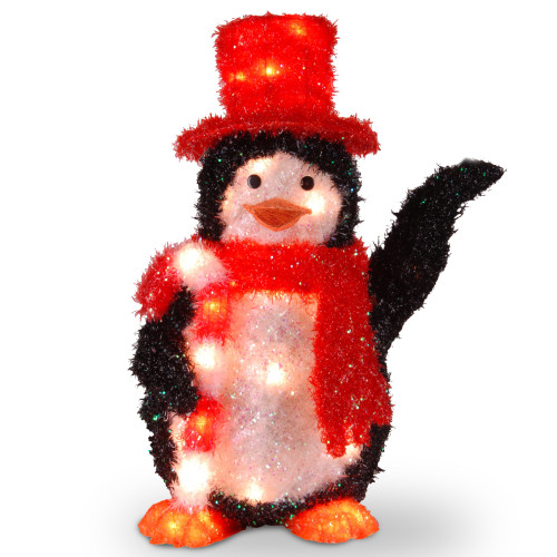 "22"" Vibrantly Colored Glitter Finish Penguin with Candy Cane Table Topper - Clear Lights - IMAGE 1"