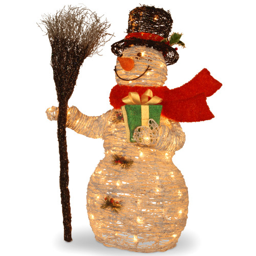 "35"" White Snowman Holding Gift and Broom Table Topper - Clear Lights - IMAGE 1"
