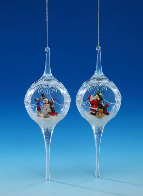 "Set of 4 Santa and Snowman Egg Ornaments 8"" - IMAGE 1"