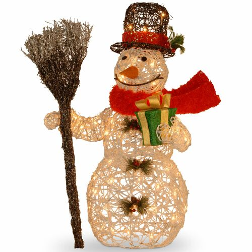 """27"""" White Snowman Holding Gift and Broom Table Topper - Clear Lights - IMAGE 1"""