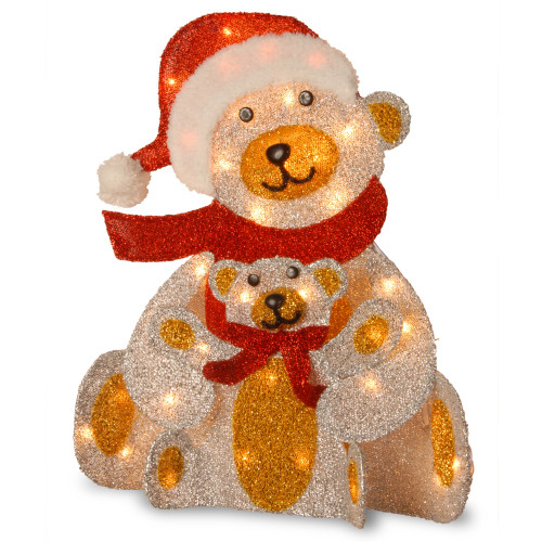 """24"""" Red and Gold Colored Christmas Decorative Glittering Bear Table Topper - Clear Lights - IMAGE 1"""