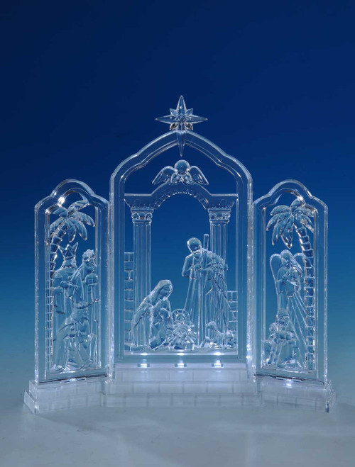 """Set of 2 Clear Nativity Frieze LED Tabletop Decors 10"""" - IMAGE 1"""